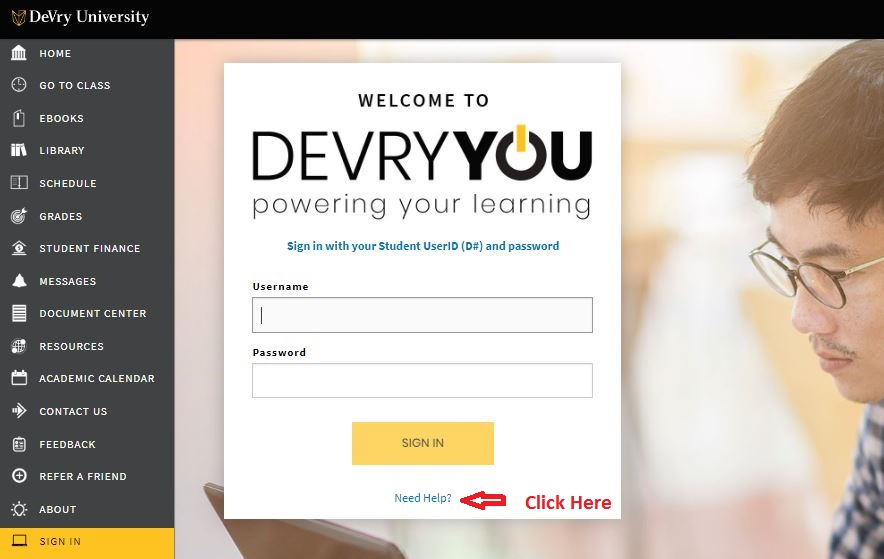 Devry Student Login reset password step 1