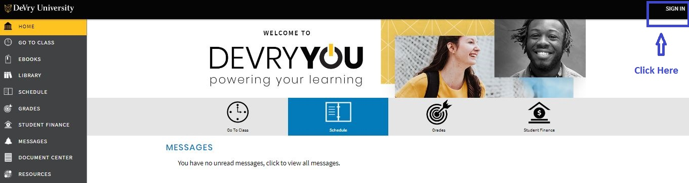 Devry Student Login step 1