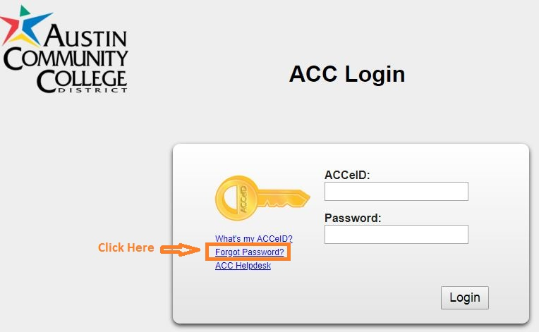 ACC Student login forgot password step 1