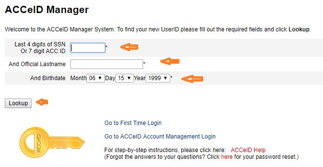 ACC Student login forgot password step 2