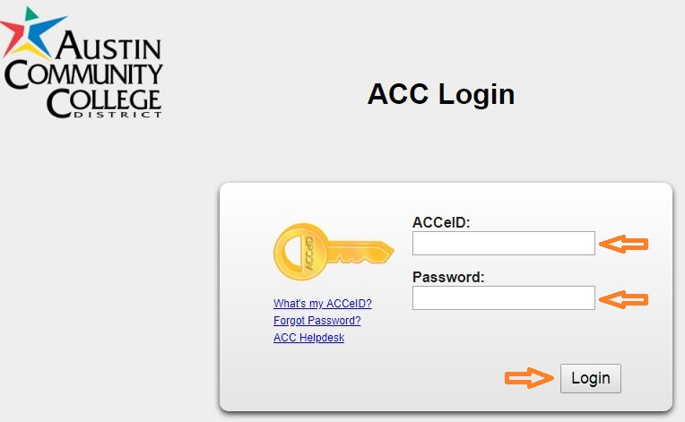 ACC Student login step 1
