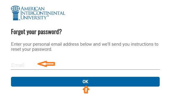 AIU Student login forgot password step 2