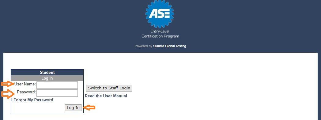 ASE Student Login step 2