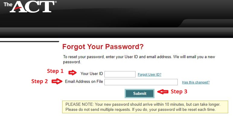 Act Student login forgot password step 2