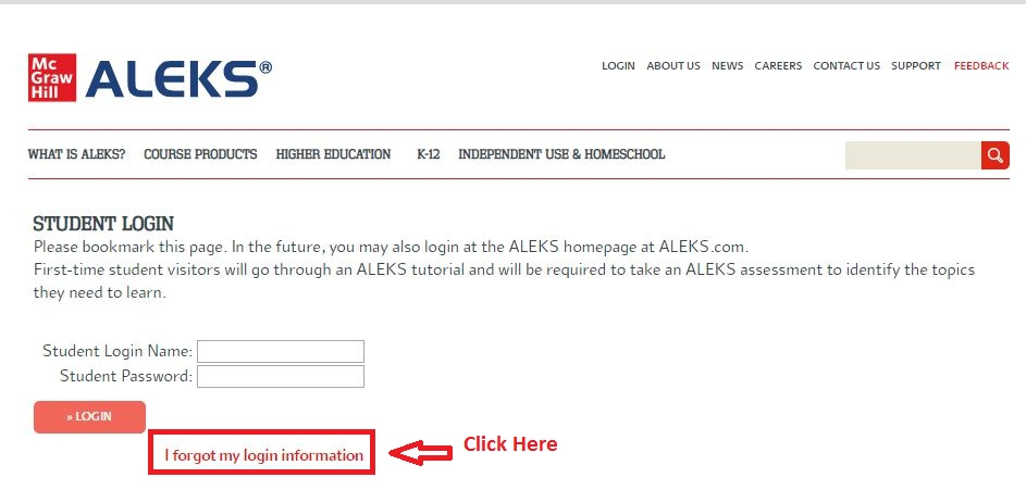 Aleks Student login forgot password step 1