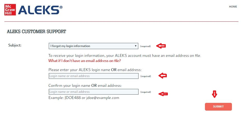 Aleks Student login forgot password step 2