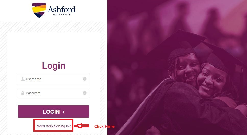 Ashford Student Portal login forgot password step 1