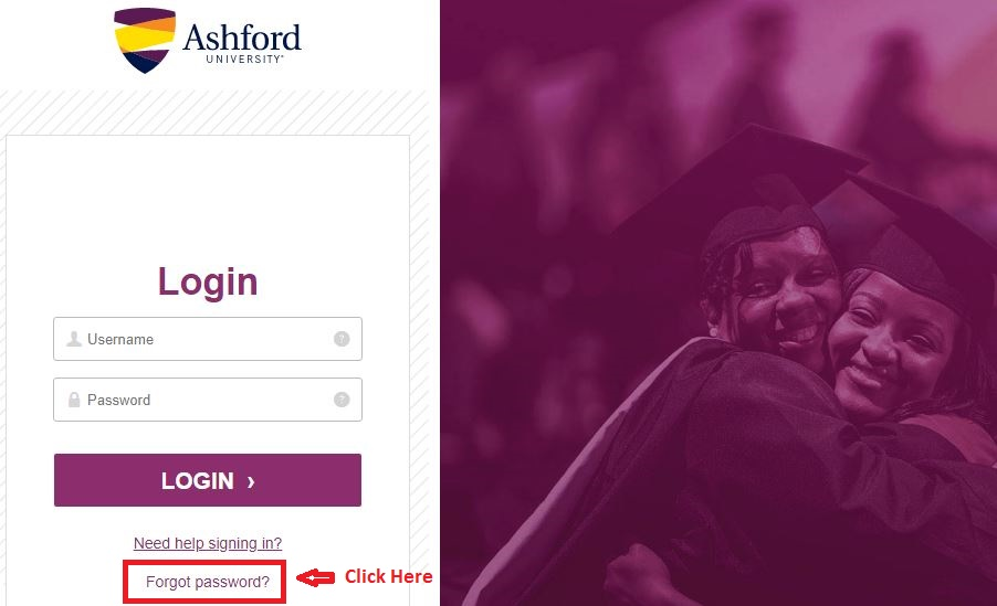 Ashford Student Portal login forgot password step 2