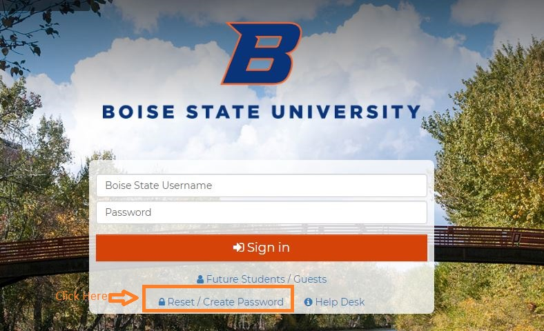 BSU Student login forgot password step 1