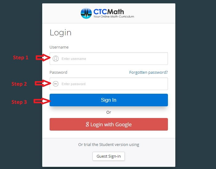 CTCMath Student login step 1