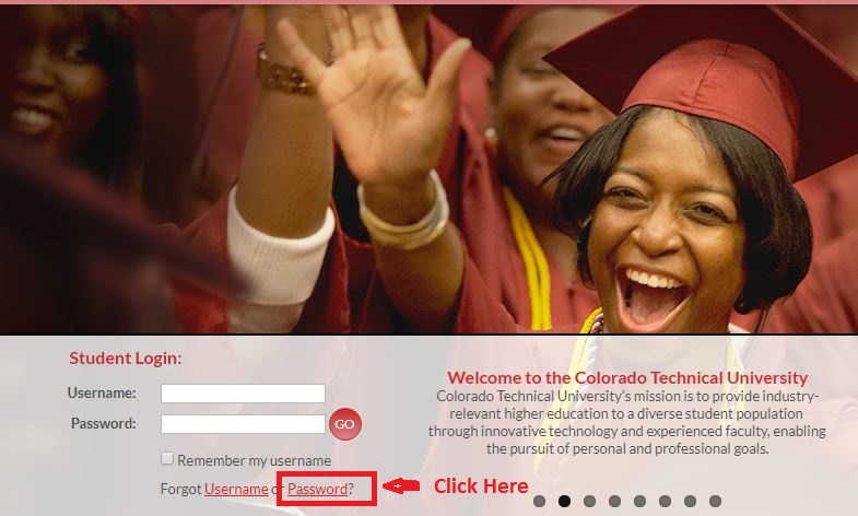 CTU Student login forgot password step 1