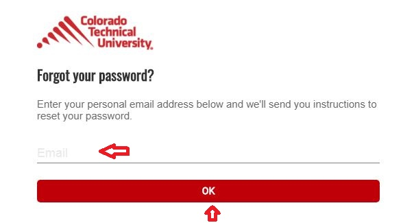 CTU Student login forgot password step 2