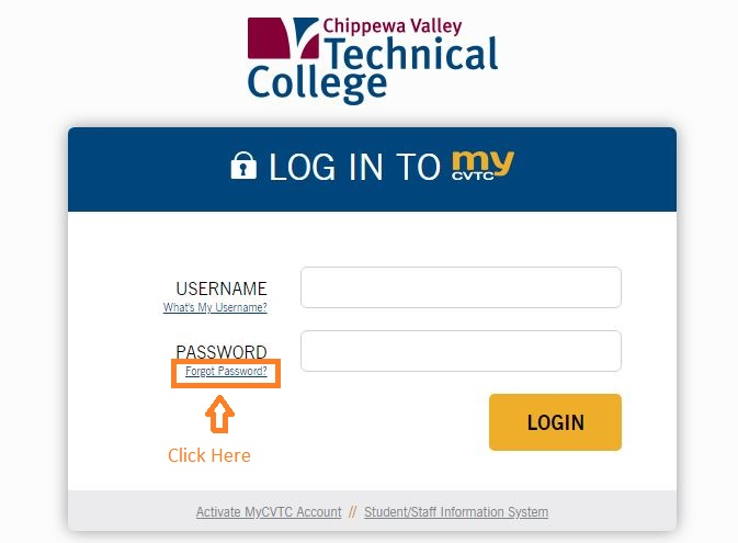 CVTC Student Login forgot password step 1