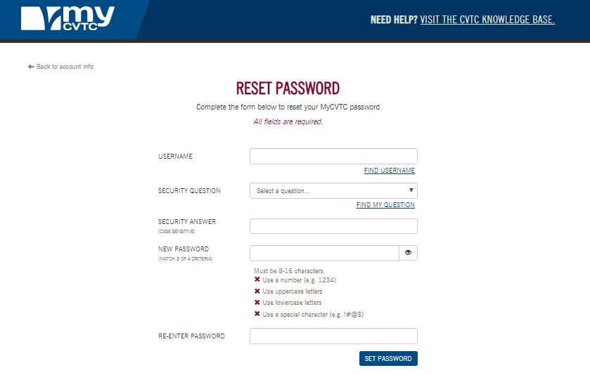 CVTC Student Login forgot password step 2
