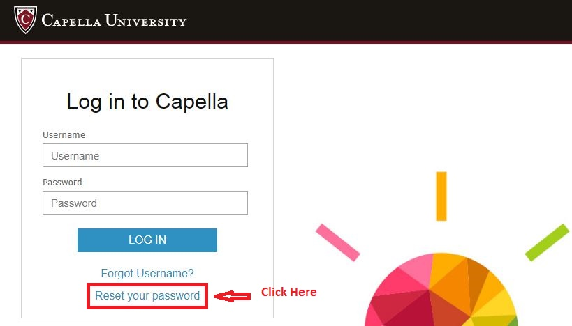 Capella Student login forgot password step 1