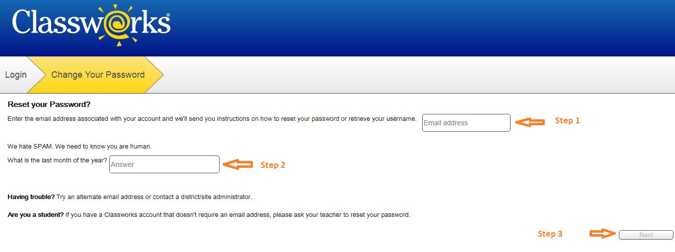 Classworks Student login forgot password step 2