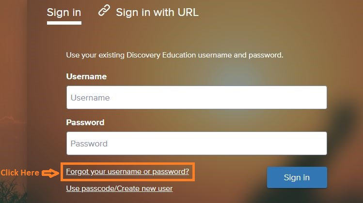 Discovery Education Student login forgot password step 1
