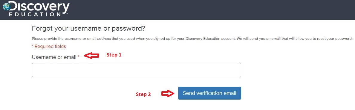 Discovery Education Student login forgot password step 2