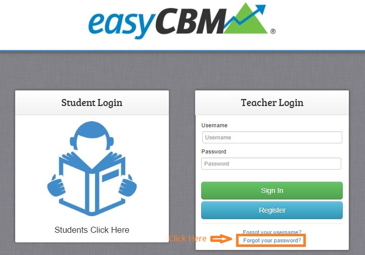 Easycbm Student login forgot password step 1