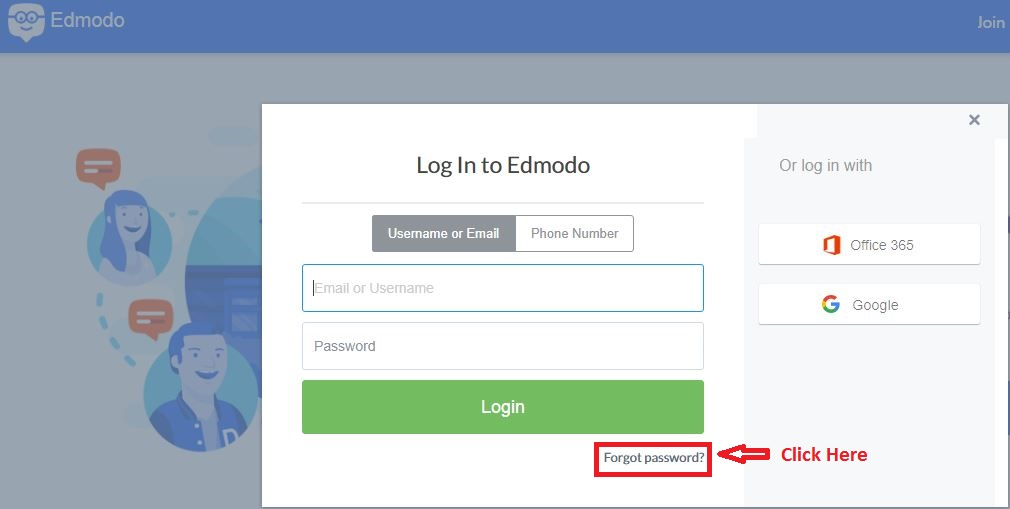 Edmodo Student login forgot password step 1