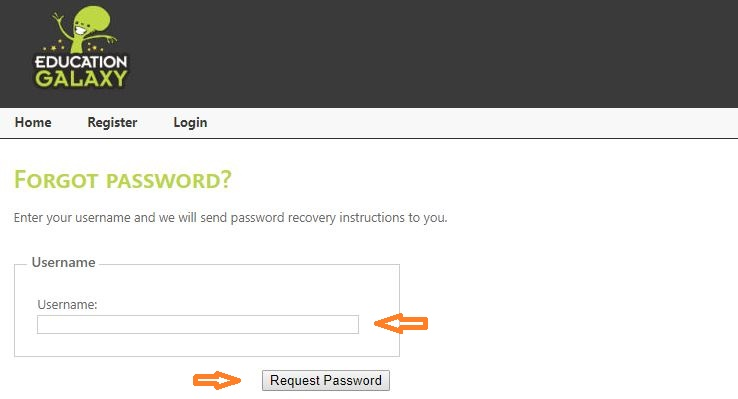 Education Galaxy Student login forgot password step 2