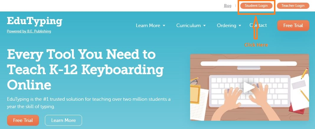 Edutyping Student login step 1