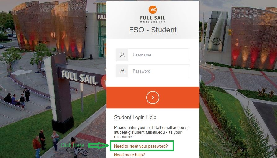 Full Sail Student login forgot password step 1