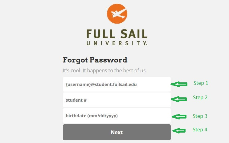 Full Sail Student login forgot password step 2