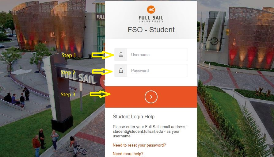 Full Sail Student login step 2