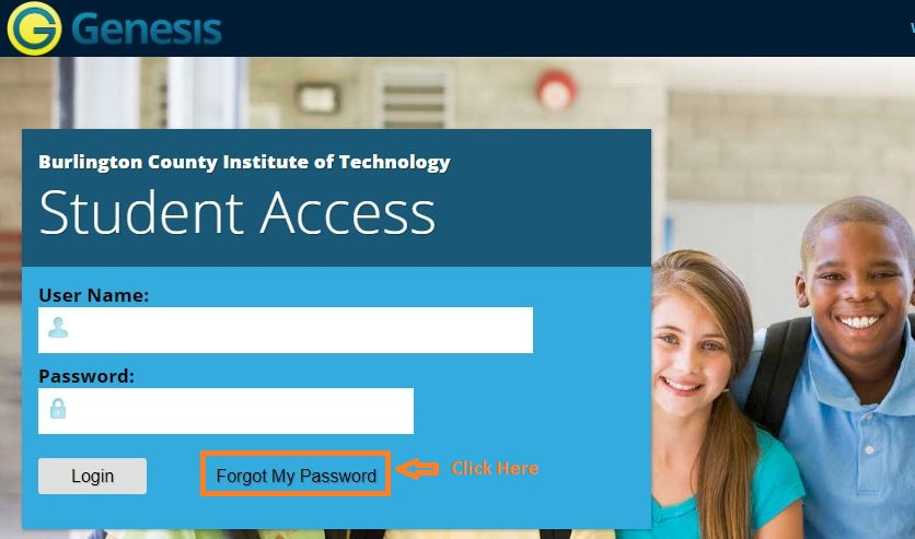 Genesis Student login forgot password step 1