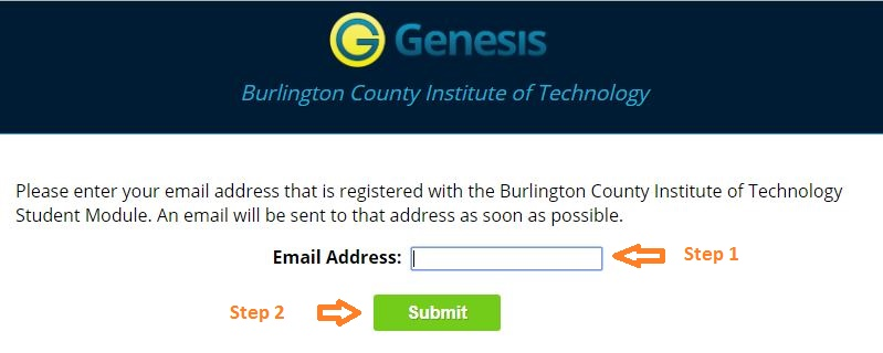 Genesis Student login forgot password step 2