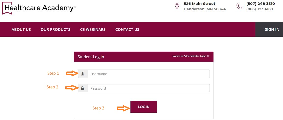 Healthcare Academy Student login step 2