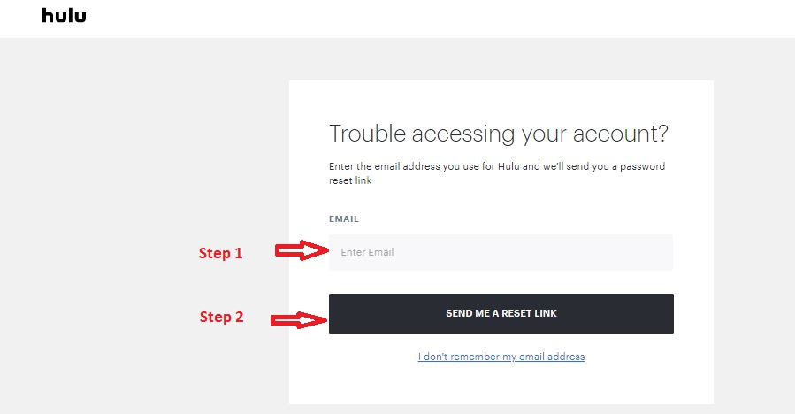 Hulu Student Login forgot password step 2
