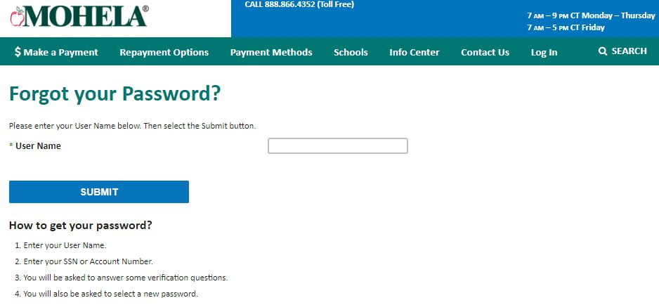 Mohela Student login forgot password step 4
