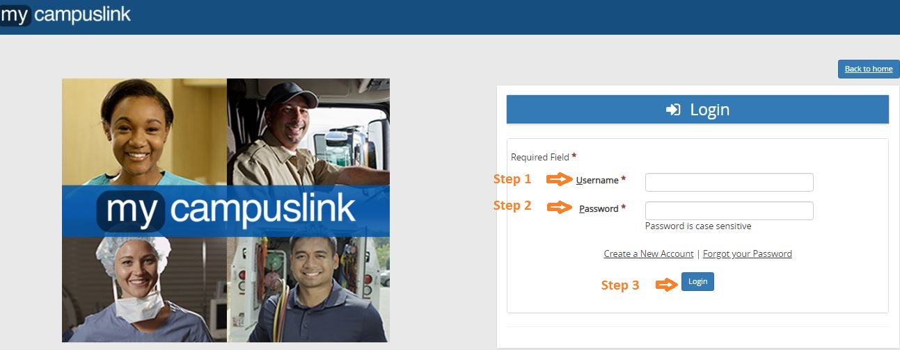 My Campus Link Student login step 3