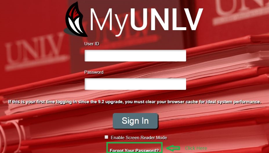 Myunlv Student login forgot Password step 1