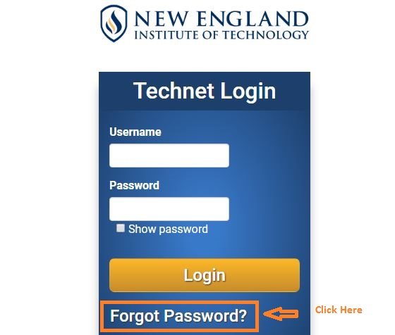 NEIT Student login forgot password step 1