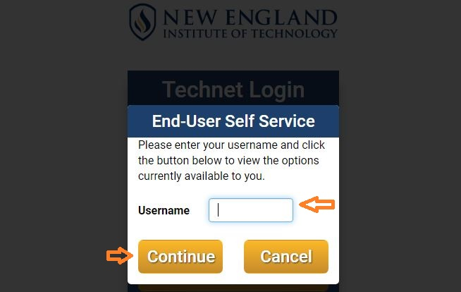 NEIT Student login forgot password step 2