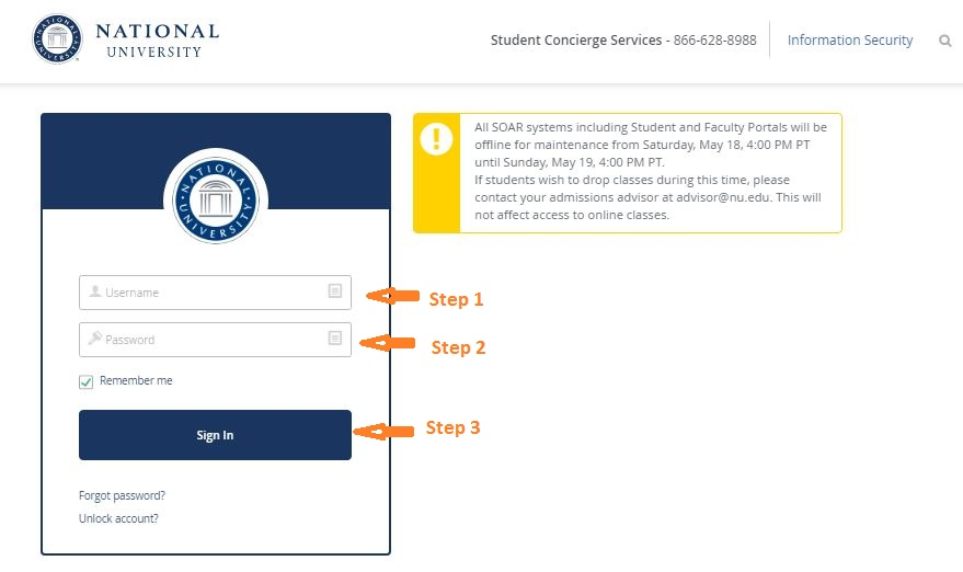 National University Student login step 1