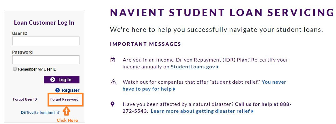 Navient Student Loans login forgot password step 1