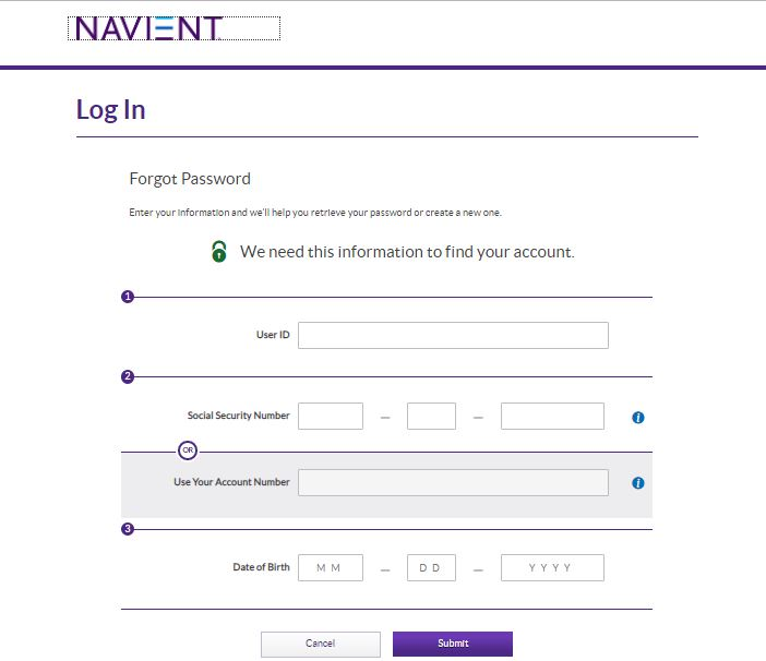 Navient Student Loans login forgot password step 2
