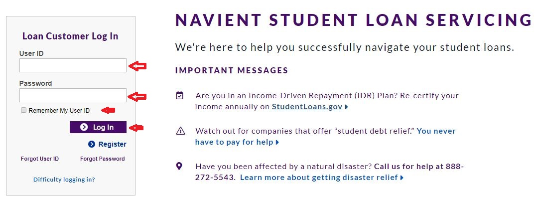 Navient Student Loans login step 1