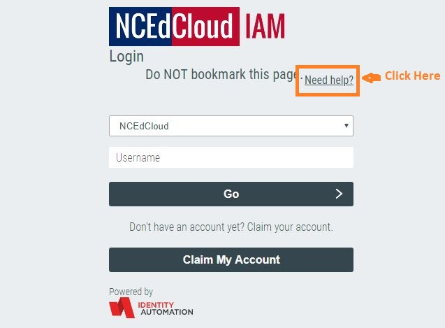 Ncedcloud Student Login forgot password step 1