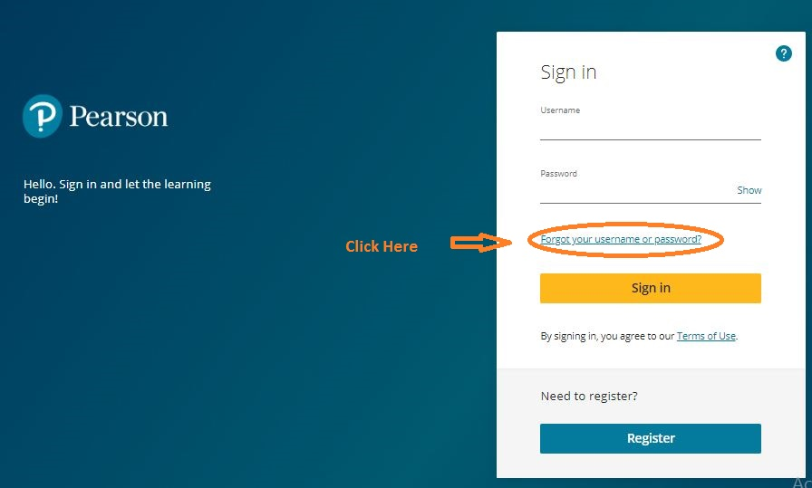 Pearson Student Login forgot password step 1
