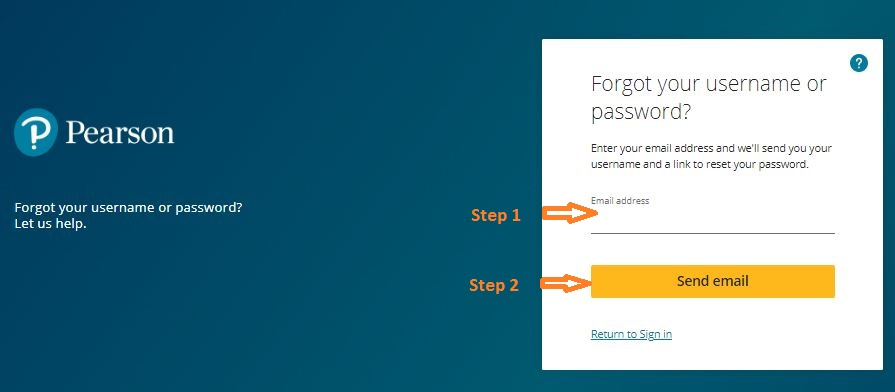 Pearson Student Login forgot password step 2