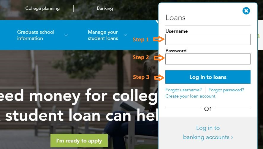 Sallie Mae Student login step 2
