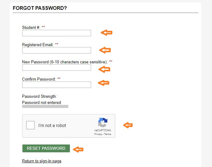 Scitraining Student login forgot password step 2