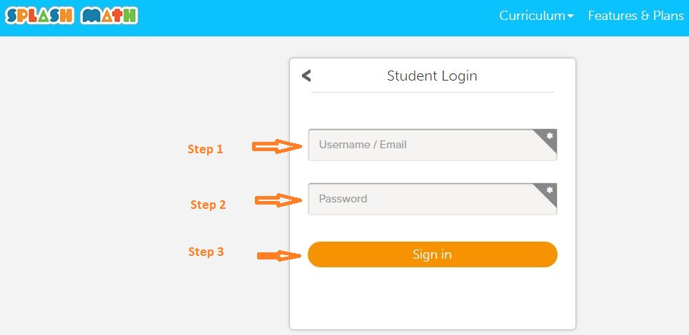 Splash Math Student login step 2
