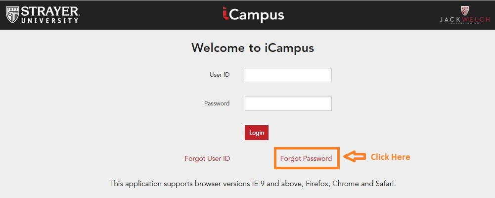 Strayer icampus Student Login forgot password step 1