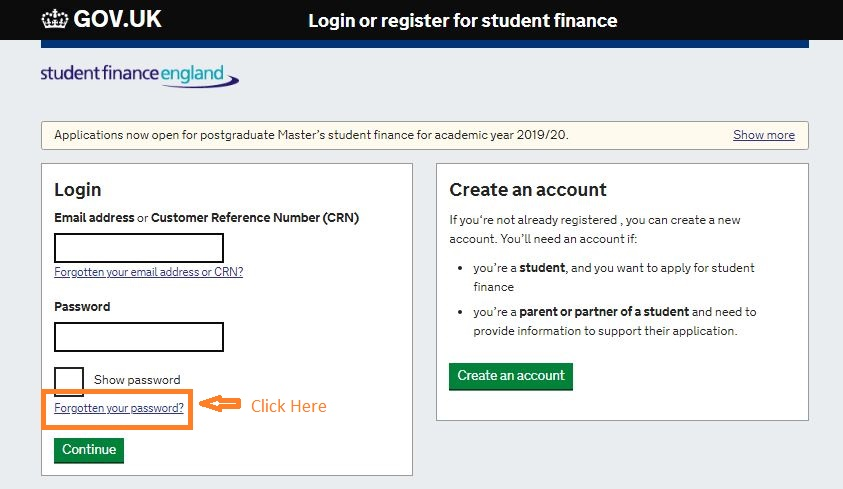 Student Finance login forgot password step 1